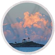 Towering Clouds Over Nubble Lighthouse York Maine Round Beach Towel
