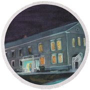 Town Hall At Night Round Beach Towel
