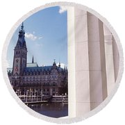 Town Hall At The Waterfront Round Beach Towel