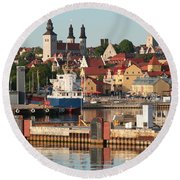 Town Harbour Round Beach Towel