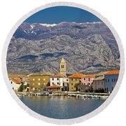 Town Of Vinjerac Waterfrot View Round Beach Towel