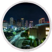 Toyota Center And Downtown Houston Round Beach Towel