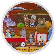 Round Beach Towel featuring the painting Toys In The Attic by Jennifer Lake