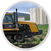 Round Beach Towel featuring the photograph Tractor At Spreckels by James B Toy