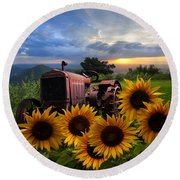 Tractor Heaven Round Beach Towel