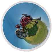 Tractor In A Field, Everett, Snohomish Round Beach Towel