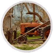 Tractor On Us 285 Round Beach Towel