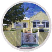 Round Beach Towel featuring the photograph Traditional Bermuda Home by Verena Matthew