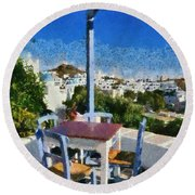 Traditional Tavern In Ios Town Round Beach Towel