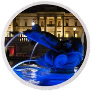 Trafalgar Square At Night Round Beach Towel