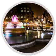 Round Beach Towel featuring the photograph Trafalgar Square by Matt Malloy