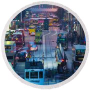 Traffic On A Street At Night, Des Voeux Round Beach Towel