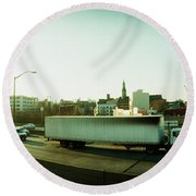 Traffic On An Overpass, Brooklyn-queens Round Beach Towel