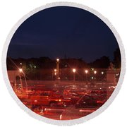 Traffic On The Road At Night Round Beach Towel