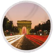 Traffic On The Road, Avenue Des Round Beach Towel