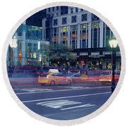 Traffic On The Road, Fifth Avenue Round Beach Towel