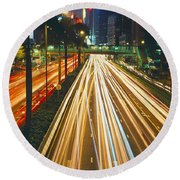Traffic On The Road, Hong Kong, China Round Beach Towel