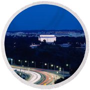 Traffic On The Road, Washington Round Beach Towel by Panoramic Images