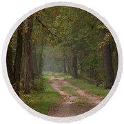 Trail Along The Canal Round Beach Towel by Jeannette Hunt