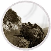 Round Beach Towel featuring the photograph Trail On Mt. Tamalpais Marin Co California Circa 1902  by California Views Mr Pat Hathaway Archives