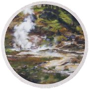 Trail To The Artists Paint Pots - Yellowstone Round Beach Towel by Lori Brackett