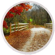 Trailing In Autumn Round Beach Towel