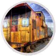 Train Caboose Round Beach Towel
