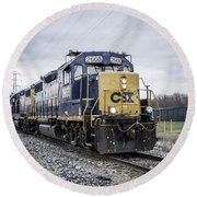 Train Engine 2668 Round Beach Towel