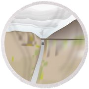 Train Landscape Round Beach Towel