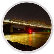 Train Lights In The Night Round Beach Towel