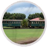 Train Lovers Round Beach Towel by Suzanne Luft