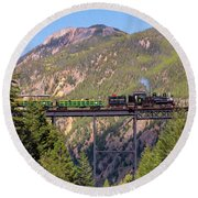 Train Over The Trestle Round Beach Towel