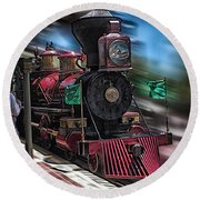 Train Ride Magic Kingdom Round Beach Towel