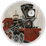 Train - The General -painted Round Beach Towel