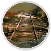 Train Track To Hell Round Beach Towel