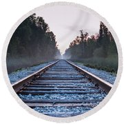 Round Beach Towel featuring the photograph Train Tracks To Nowhere by Patrick Shupert