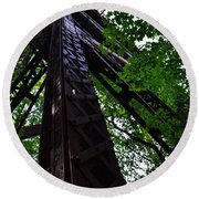 Train Trestle In The Woods Round Beach Towel