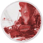 Train V Car Round Beach Towel