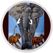Round Beach Towel featuring the painting Trampling Elephant by Nora Shepley