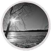 Tranquil Sunset Round Beach Towel