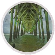Tranquil Topsail Surf City Pier Round Beach Towel by Betsy Knapp