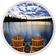 Tranquility At Sunset Round Beach Towel
