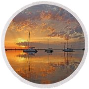 Tranquility Bay - Florida Sunrise Round Beach Towel by HH Photography of Florida