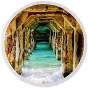 Tranquility Below Round Beach Towel by Karen Wiles