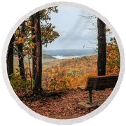 Round Beach Towel featuring the photograph Tranquility Bench In Great Smoky Mountains by Debbie Green