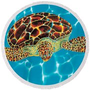Caribbean Sea Turtle Round Beach Towel