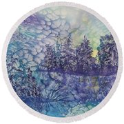 Round Beach Towel featuring the painting Tranquility by Ellen Levinson