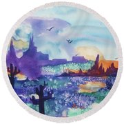 Round Beach Towel featuring the painting Tranquility II by Ellen Levinson