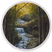 Round Beach Towel featuring the painting Tranquility by Kim Lockman