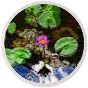 Tranquility - Lotus Flower Koi Pond By Sharon Cummings Round Beach Towel